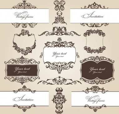 decorative elements collection classical elegant symmetric design