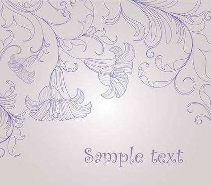 decorative background handdrawn floral petals sketch