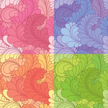 leaves pattern templates colored flat curved sketch