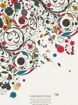 doodle botany background colorful vintage messy sketch