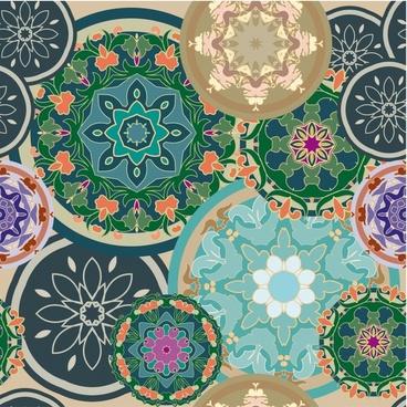 kaleidoscope pattern colorful flat floral circles sketch