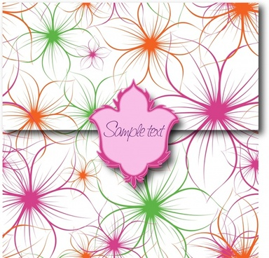 sealed card template modern colorful handdrawn petals decor