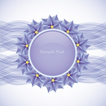decorative background violet petals circle frame dynamic lines