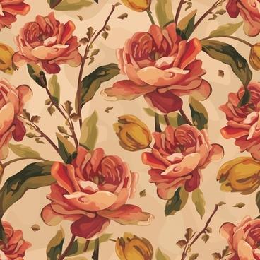botanical pattern template colored elegant classical drawn decor