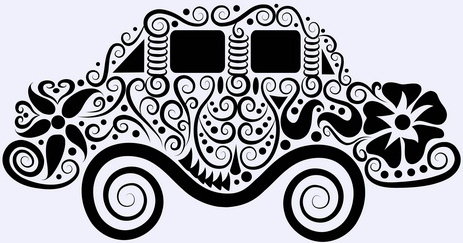 beautiful floral car design graphics