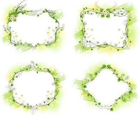 beautiful floral frame vector set