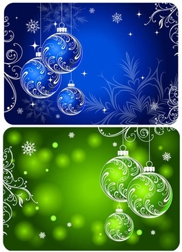 christmas background templates sparkling blue green baubles decor