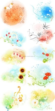 beautiful floral pattern vector series 3 series 10p