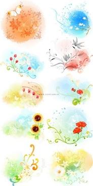 beautiful floral pattern vector series 3 series 10p