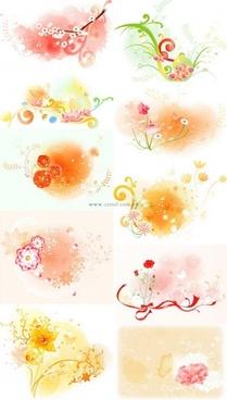 beautiful floral pattern vector series series 2 10p