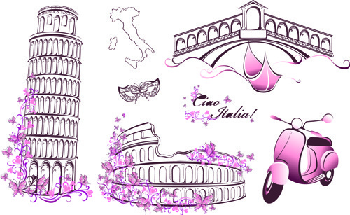 beautiful floral with italy symbols vector