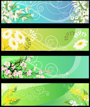 beautiful flower banner 01 vector