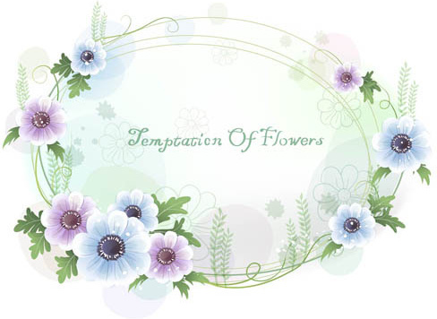 beautiful flower frame design vectors