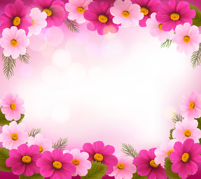 beautiful flower frame vector graphics