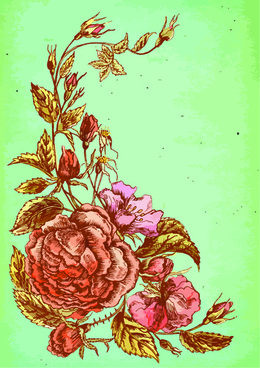 beautiful flower retro style vector graphics