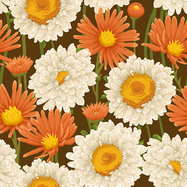 beautiful flower seamless patterns retro vector set