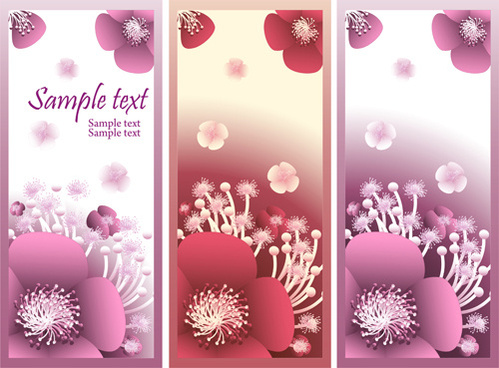 beautiful flower vertical banner vector set
