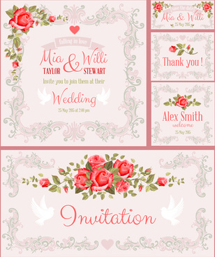 beautiful flower wedding cards vecors