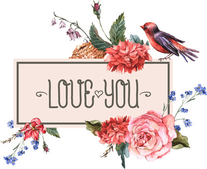 beautiful flower with birds vintage cards vector