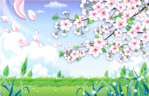 beautiful flower with nature landscapes background vector