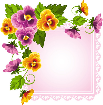 beautiful flower with pink paper background vector