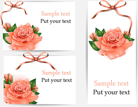 beautiful flower with ribbon cards vector graphic