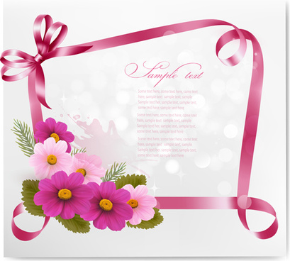 beautiful flower with ribbon frames card vector