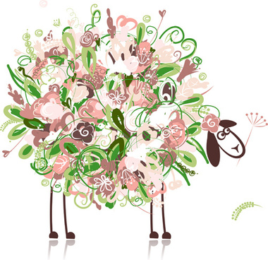 beautiful flowers and animals design vector