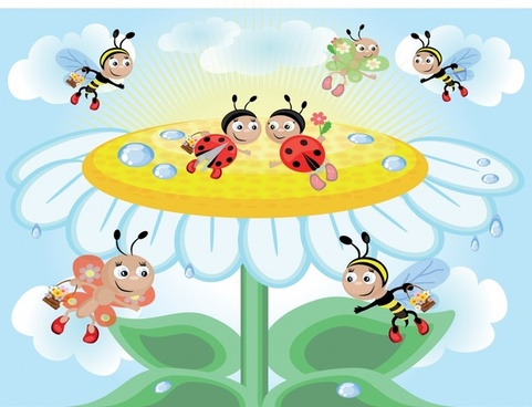 nature background petals stylized honeybees decor cute cartoon
