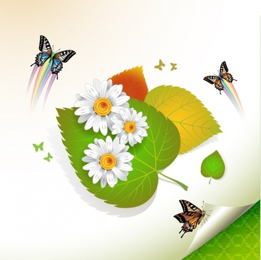 nature background colorful dynamic flowers leaf butterflies decor