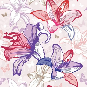 beautiful flowers and patterns 02 vector