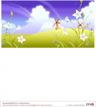 countryside background windmill flowers icons colorful modern design