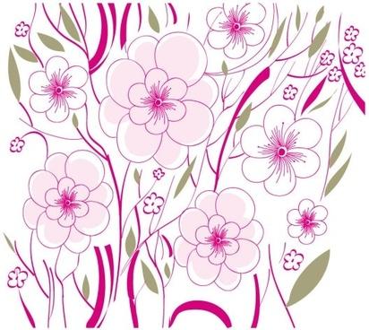beautiful flowers background illustration 01 vector