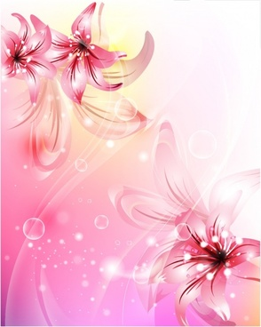 flowers background modern sparkling bokeh petals decor