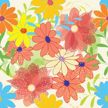 flowers background template bright colorful flat design