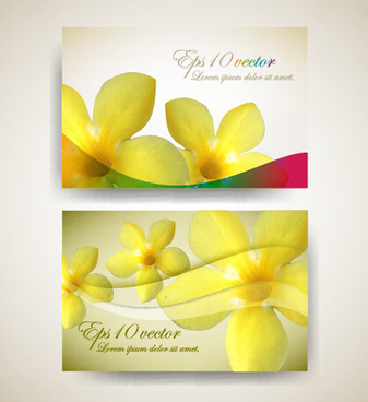 beautiful flowers business cards vector