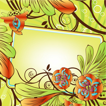 beautiful flowers decorative frame vector