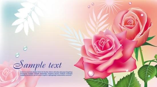 card background template elegant roses sketch modern design
