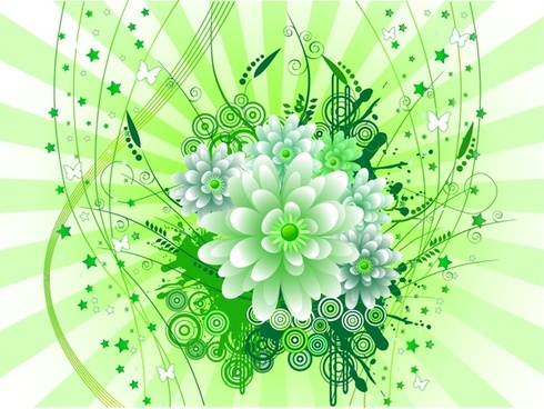 blooming flowers background green grunge design curves ornament