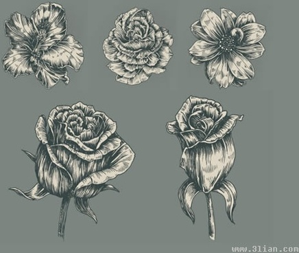 flora icons black white 3d handdrawn sketch