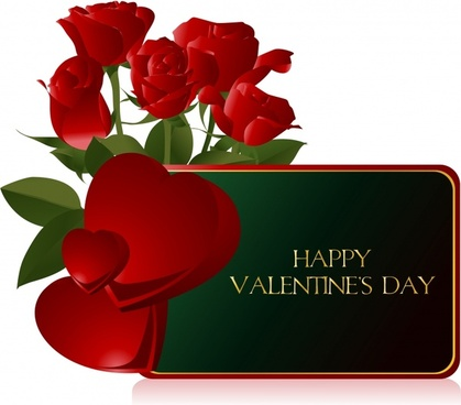 valentine banner red hearts roses elegant colored 3d