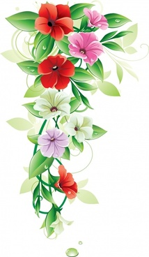 flowers background bright colorful modern design blooming sketch