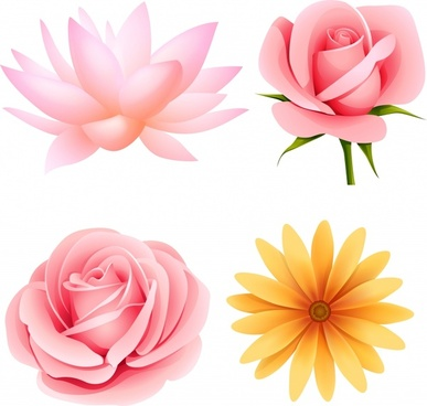petals icons modern bright colored 3d design