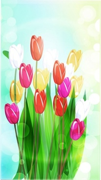 beautiful flowers vector 4