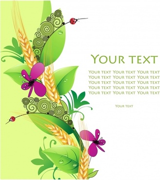 nature background flora cereal insect sketch colorful decor