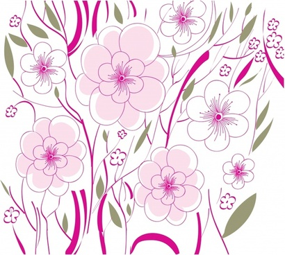 flowers background colored classical flat sketch