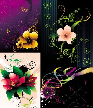 beautiful flowers vector the trend