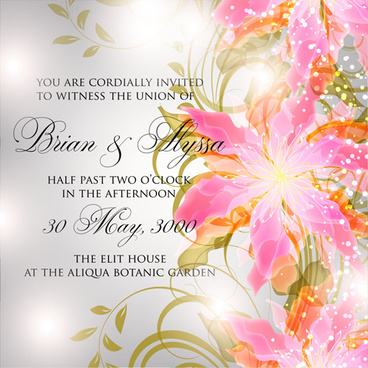 beautiful flowers wedding invitation card vector set