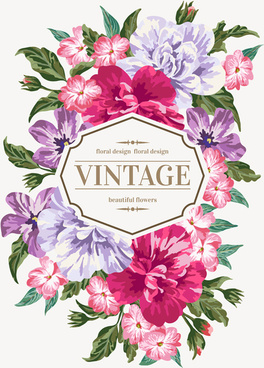 beautiful flowers with vintage card vectors