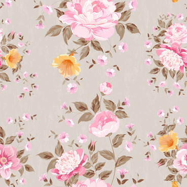 beautiful flowers with vintage seamless pattern vector